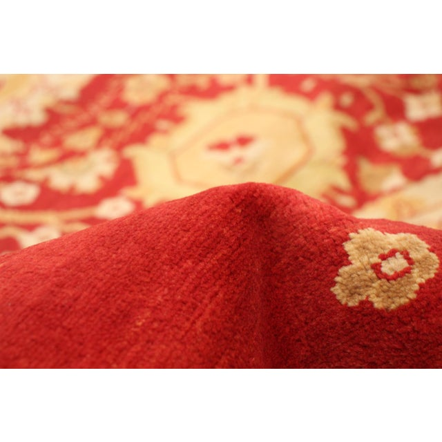 Textile Hand-Knotted Red Rug For Sale - Image 7 of 9