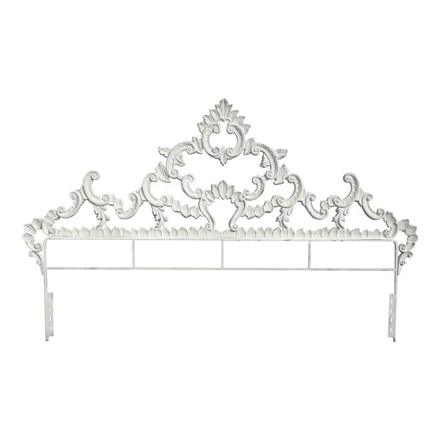 Vintage French Provincial Louis XVI Rococo White Metal King Headboard For Sale