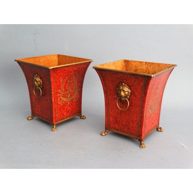 Pair Vintage Italian Chinoiserie Tole Urns, Cachepots For Sale In Houston - Image 6 of 8