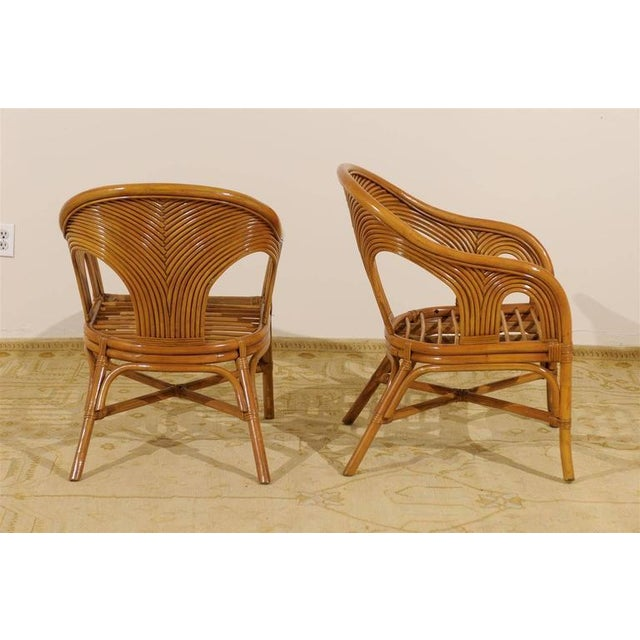 1970s Sculptural Set of Six Vintage Bamboo Dining Chairs For Sale - Image 5 of 11