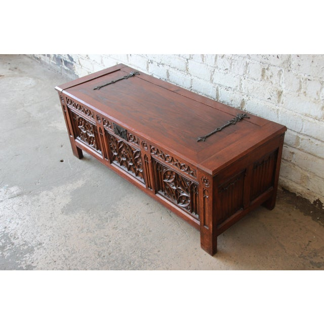 1900 - 1909 Antique Belgian Gothic Revival Carved Oak Blanket Chest, Circa 1900 For Sale - Image 5 of 13