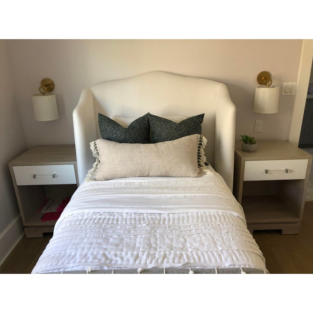 Transitional Emma Wingback Linen Twin Bed For Sale - Image 3 of 10