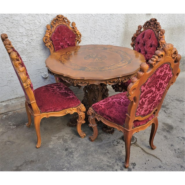 Antique Carved & Inlaid Rococo Revival Italian Round Dining Set-Set of 5 For Sale - Image 9 of 13