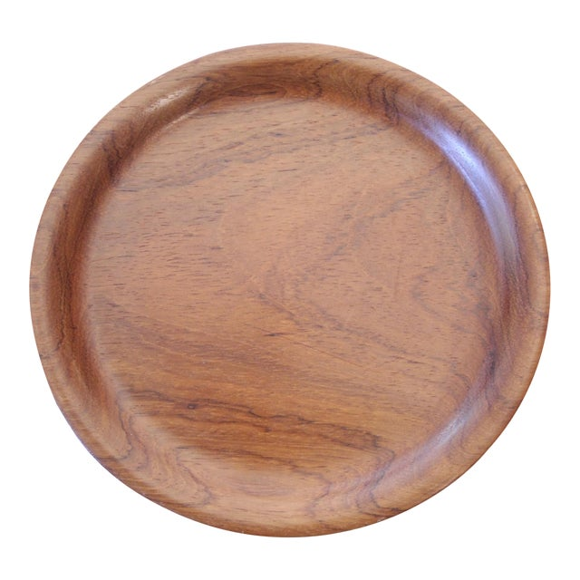 Small Carved Teak Round Tray For Sale