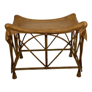 Late 20th Century Rattan Stool With Soft Leather Seat For Sale