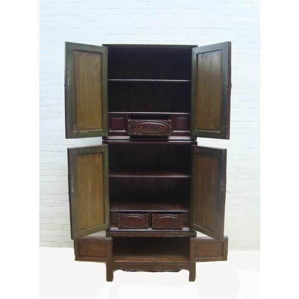 Chaozhou Painted & Carved Cabinets on Stand - Set of 3 For Sale - Image 4 of 13