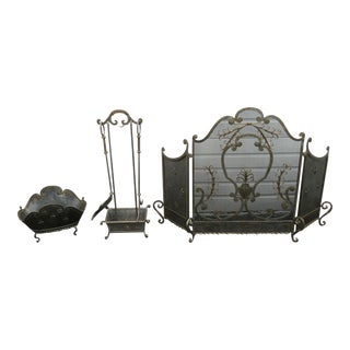French Fleur De Lis Vintage Set of Fireplace Screen Wood Holder and Tools For Sale