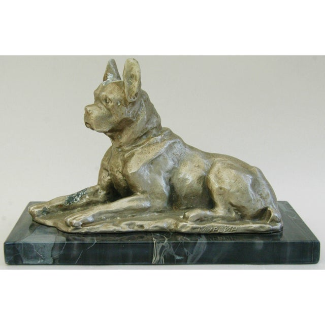 1950's Cast Metal Dog on Marble Base - Image 4 of 10