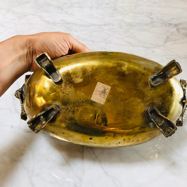 1950s Antique Lion Head Handle Brass Bowl For Sale - Image 5 of 9