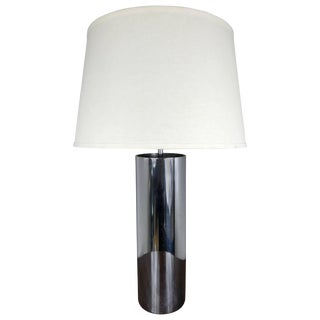 Cylindrical Chrome Table Lamp For Sale
