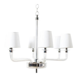 Patten Nickel & Glass Chandelier with White Silk Shades For Sale