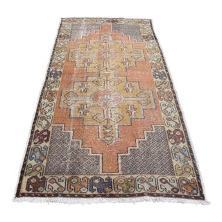 Turkish Pastel Handknotted Floor Carpet - 3′9″ × 8′4″ For Sale