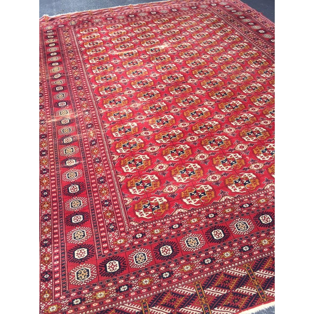Antique Tribal Turkoman Bohkara Hand Knotted Wool Area Rug - 9′5″ × 12′8″ For Sale - Image 5 of 10