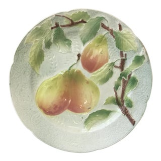 Majolica Pears Keller & Guerin Saint Clement Plate For Sale