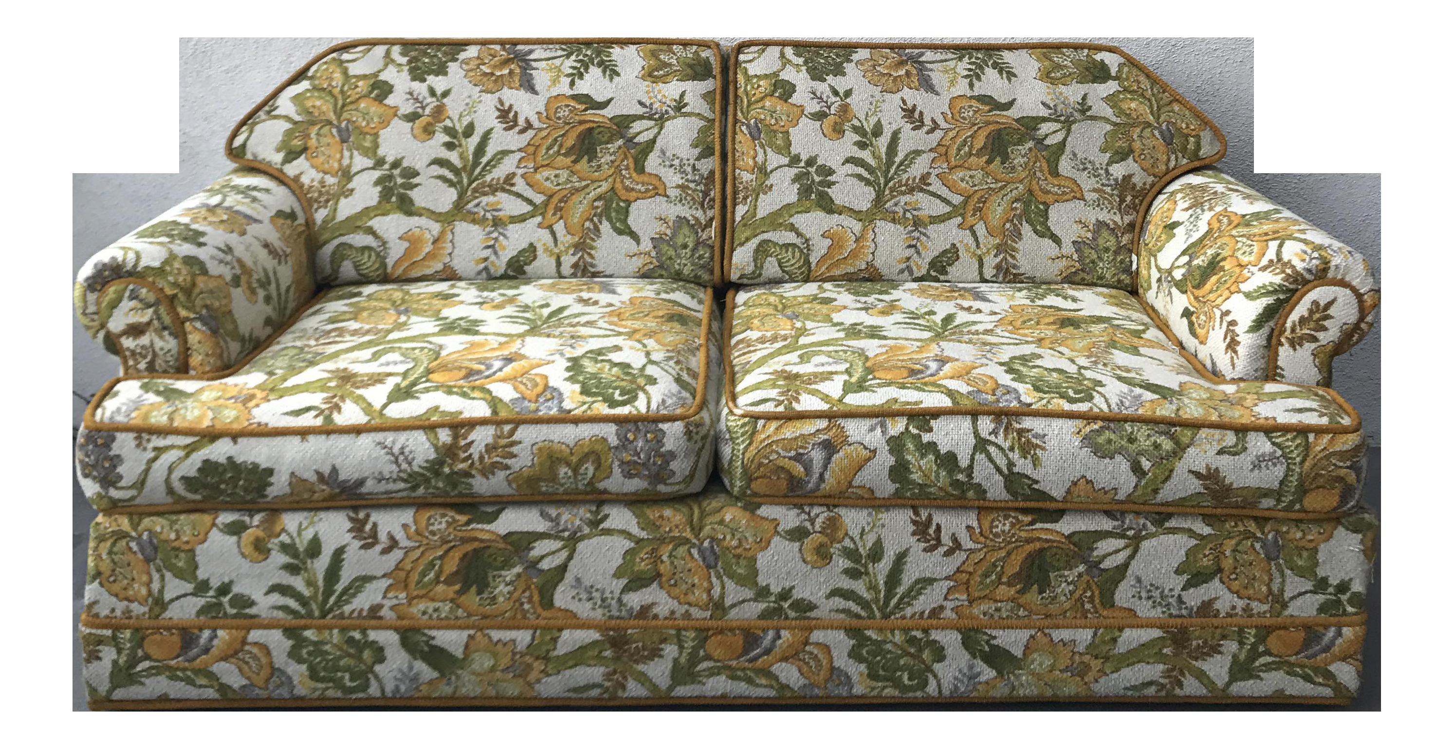 Vintage Mid Century Modern Upholstered Floral Sofa