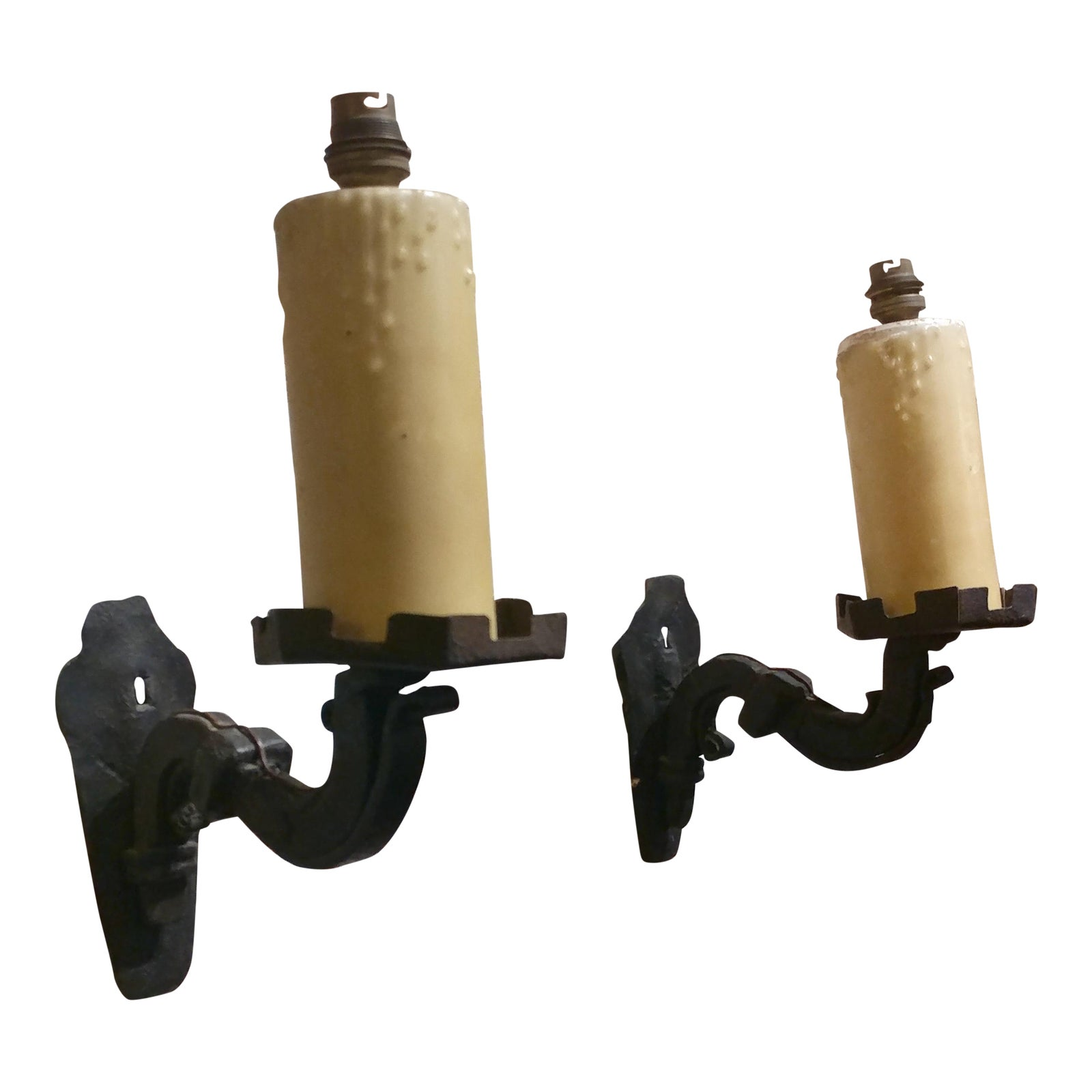 19Th Century Spanish Gothic Cast Iron Wall Candle Sconces