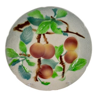 St. Clément Keller & Guerin French Faïence Peach Fruit Plate For Sale