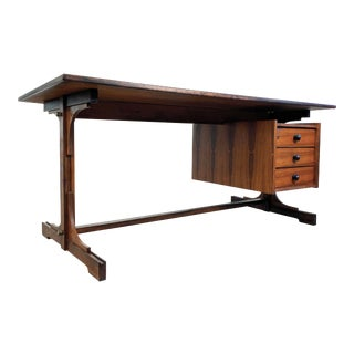 Brazilian Rosewood Mid Century Modern Floating Top Desk For Sale