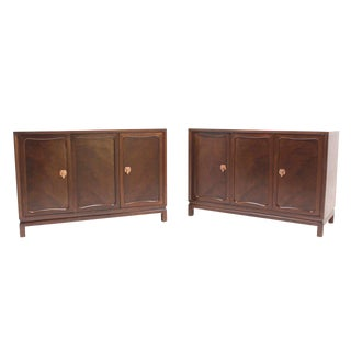 Pair of Walnut Three-Door Credenzas Bachelor Chests Drawers Copper Pulls- a Pair For Sale