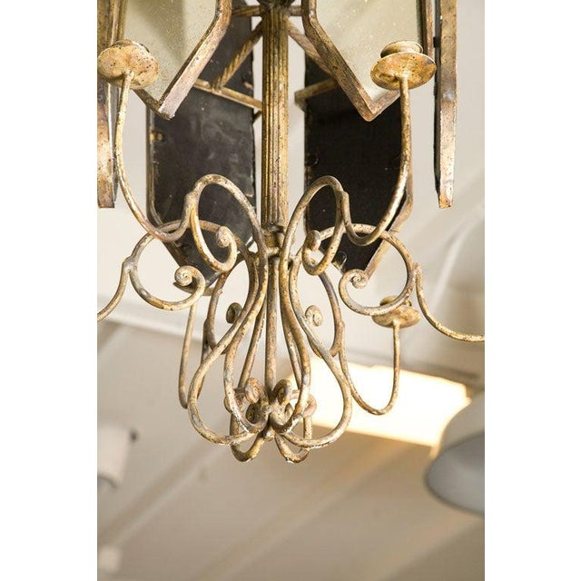 Italian Etched Mirror Panel Hanging Candlestick Chandeliers For Sale - Image 4 of 11