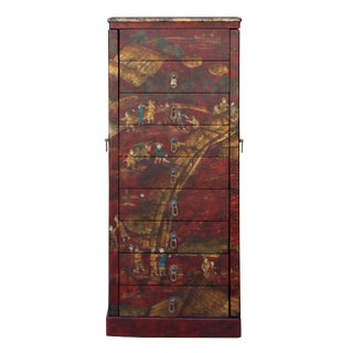 Chinese Ox Blood Red Scenery Side Doors Hooks Drawer Cabinet For Sale