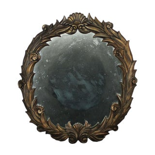 Large Antique Foliate Round Plaster Mirror Style of Serge Roche For Sale