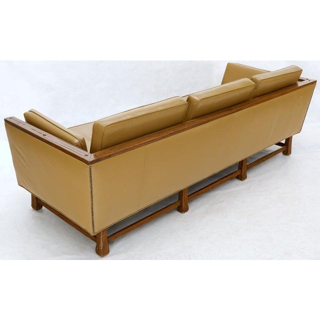 Leather Mid-Century Modern Tan Leather Oak Frame Sofa by Ranch Oak For Sale - Image 7 of 13