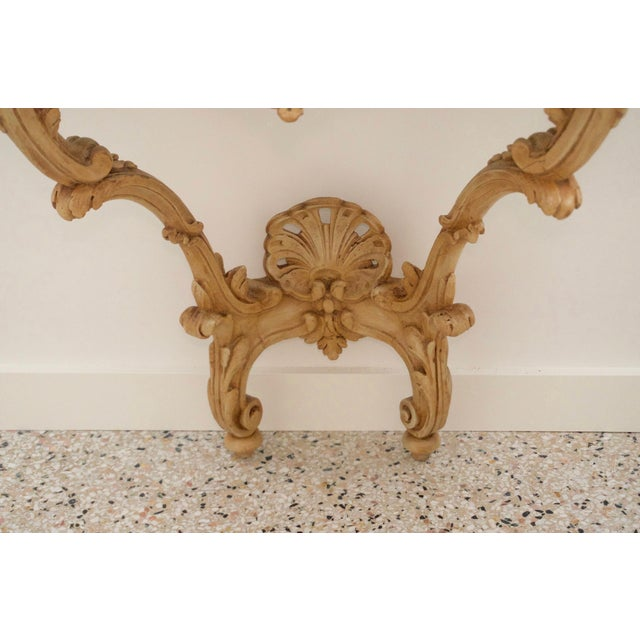 Late 18th Century Louis XV Style Console Hand Carved Wood Marble Top- 2 Avail For Sale - Image 4 of 7