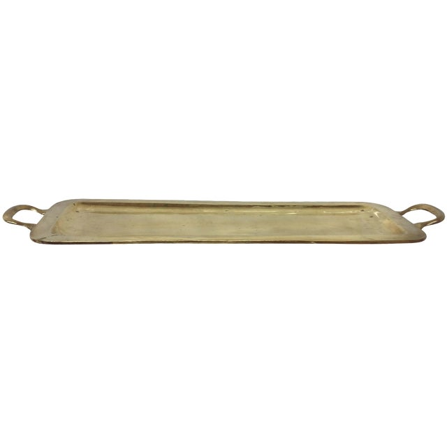 Mid-Century Solid Brass Cocktail Tray - Image 1 of 4