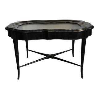 Chinoiserie Black Wood Tray Table