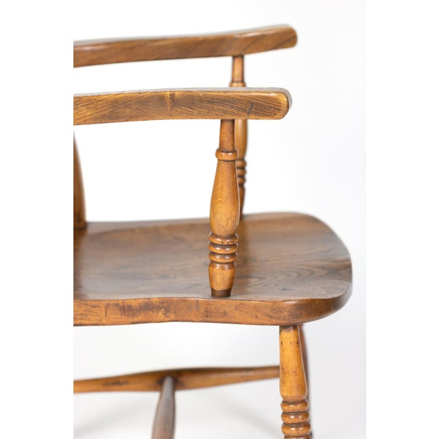 English Elm Vertical Slat Back Armchair Circa 1890 With Turned Legs and H-Stretcher For Sale - Image 10 of 13