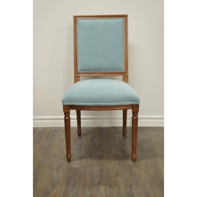 Custom Order Louis XVI Style Square Back Dining Chair Upholstered in Kravet's Crypton Washable Velvet For Sale - Image 11 of 11