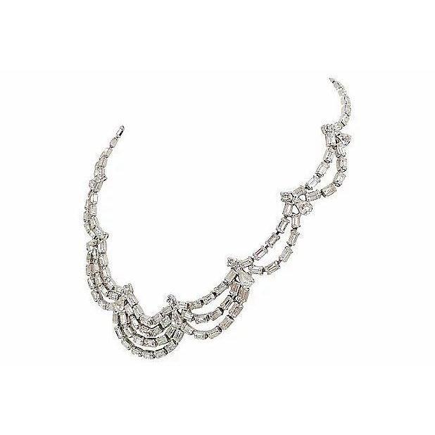 Silver 1950s Kramer of Ny Rhinestone Festoon Necklace For Sale - Image 8 of 12