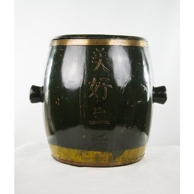 Asian Chinese Qing Dynasty Lacquer Painted Lidded Storage Vessel For Sale - Image 3 of 7