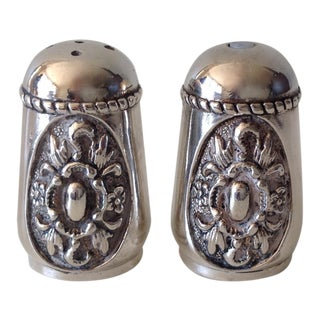 Georgian Style Silver Plate Salt & Pepper Shakers - A Pair For Sale
