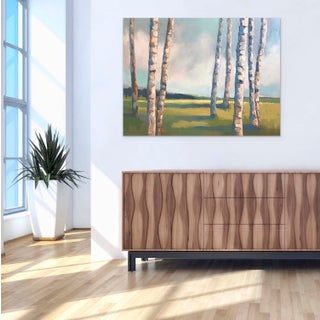 "Carrie Megan ""Five Birches Plus Three"" Landscape Oil Painting Preview"