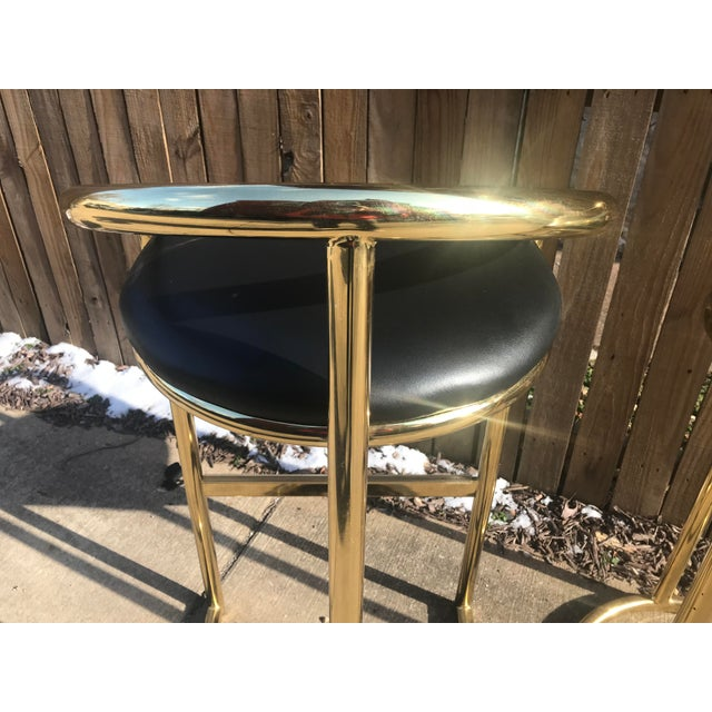 Milo Baughman Style Brass Bar Stools - A Pair - Image 6 of 7