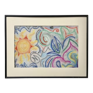 Vintage Colorful Modernist Abstract Pastel Drawing For Sale