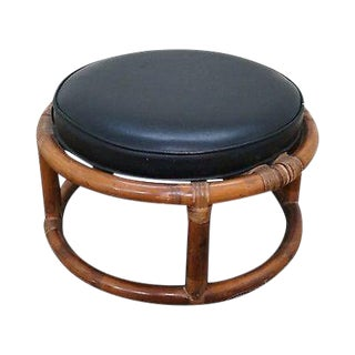 Vintage Round Rattan Bamboo Ottoman Footstool For Sale