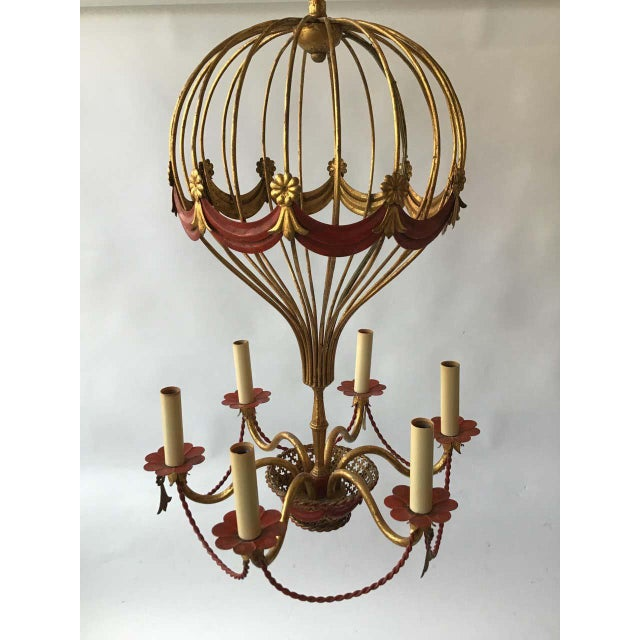 1970s Italian Gilt Iron Hot Air Balloon Chandelier For Sale - Image 4 of 11