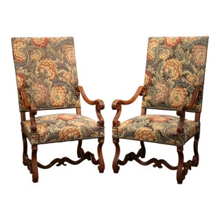 Tall Pair of 19th Century French Louis XIII Carved Walnut Upholstered Armchairs