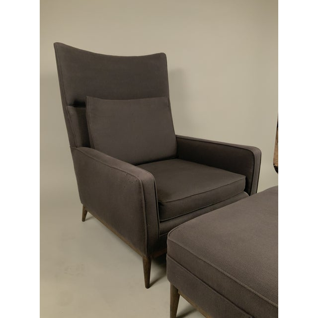 Mid-Century Modern 1950s Paul McCobb for Directional High Back Lounge Chair and Ottoman For Sale - Image 3 of 10