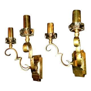 1930's French Art Deco Jules Leleu Gilt Bronze W/ Baccarat Crystal Documented Wall Sconces - a Pair For Sale