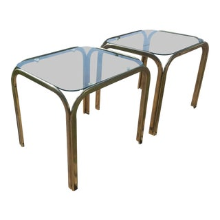 Mid Century Modern Brass Karl Springer Style Coffee Tables - a Pair For Sale