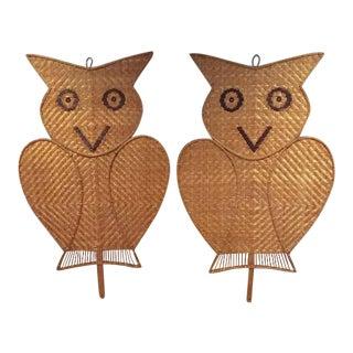 Vintage Rattan Bamboo Fans Bohemian Chic Owl Wall Art - A Pair