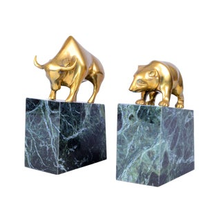 Vintage Brass Bull & Bear Bookends - A Pair For Sale