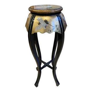 Late 20th Century Tall Asian Lacquered Pedestal Table For Sale