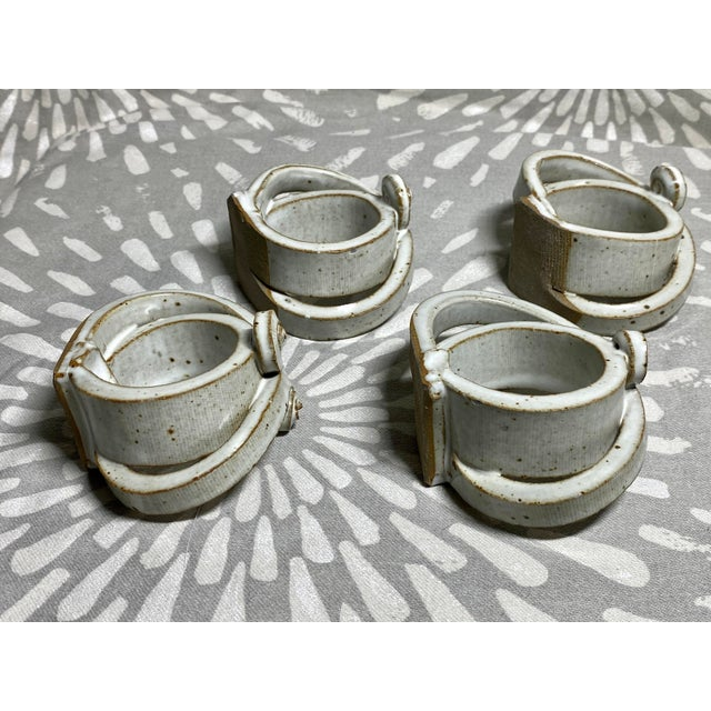 Vintage studio Raku pottery napkin rings by Harloff & Hunt Studio Potters. These pieces are one-of-a-kind hand thrown non-...