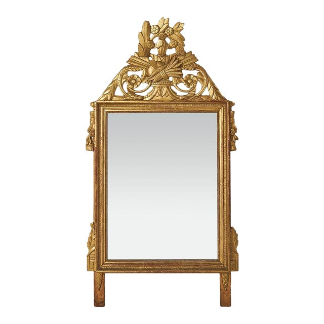 18th Century Louis XVI Carved Gilded Mirror, Circa 1770 For Sale