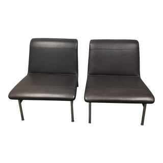 Bernhardt Leather & Chrome Lounge Chairs - A Pair